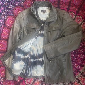 Danier Real Genuine Leather Jacket Taupe Cinched